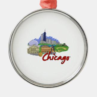 viaje graphic.png de la ciudad de Chicago Adorno Redondo Plateado