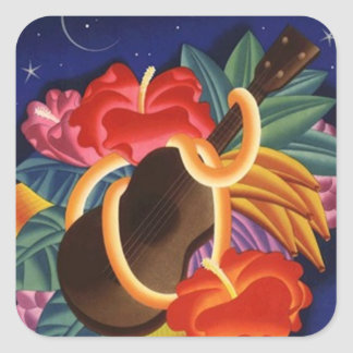 Viaje hawaiano de la noche de Tiki del Ukulele del Pegatina Cuadradas Personalizada
