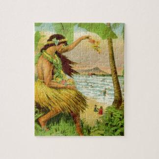 Viaje hawaiano del vintage puzzles con fotos