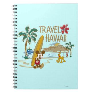 Viaje Hawaii de Mickey Mouse Libro De Apuntes Con Espiral