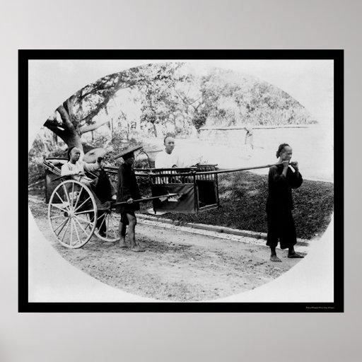 Viaje Hong Kong 1905 del carrito Póster