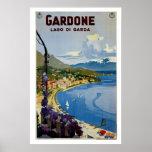 Viaje italiano de Garda del lago Gardone del vinta Póster