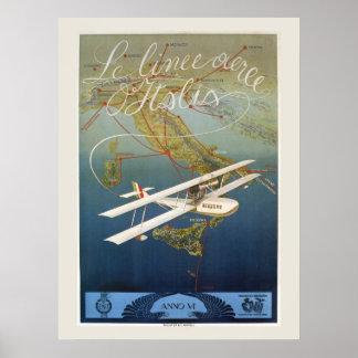 Viaje italiano de la lanzadera del avión de la póster