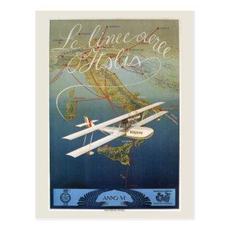 Viaje italiano de la lanzadera del avión de la tarjetas postales