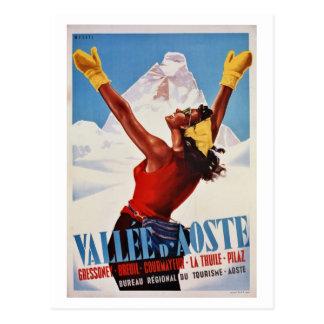 Viaje italiano de las montañas del invierno retro  tarjetas postales