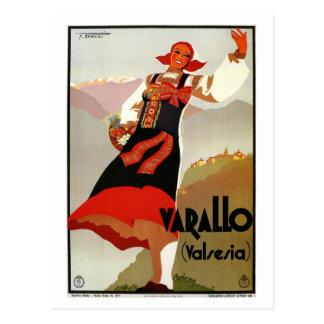 Viaje italiano de los años 30 de Varallo Valsesia Postal
