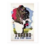 Viaje italiano de los valles retros de Turín del v Postal