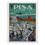 Viaje italiano de Pisa de los años 20 del vintage Posters