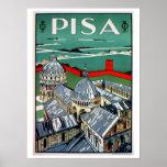 Viaje italiano de Pisa de los años 20 del vintage Póster