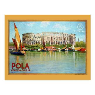 Viaje italiano del teatro romano de las pulas de tarjeta postal