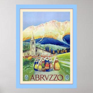 Viaje italiano del vintage del ~ de Abruzos Poster