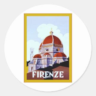Viaje italiano del vintage del ~ de Firenze Pegatina Redonda