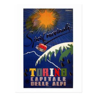 Viaje italiano retro de los deportes de invierno tarjetas postales