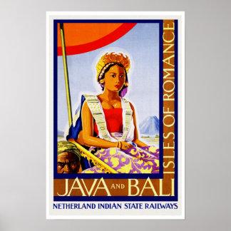Viaje Java y Bali del vintage Póster