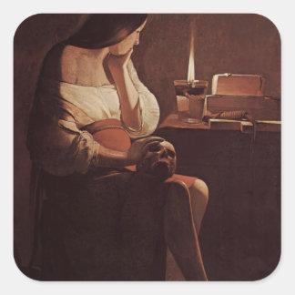 Viaje Maria Magdalena de Jorte con una luz de la Pegatina Cuadrada