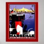 Viaje Marsella Francia de los posters del vintage