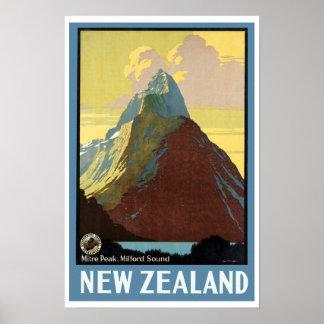 Viaje Milford Sound Nueva Zelanda del vintage Póster
