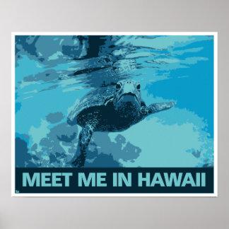 Viaje moderno de Hawaii de la tortuga de mar del a Posters