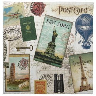 Viaje moderno del vintage servilleta imprimida