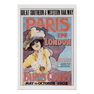 Viaje París del vintage en Londres Póster