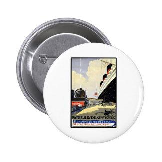 Viaje París Havre Nueva York del vintage Chapa Redonda 5 Cm