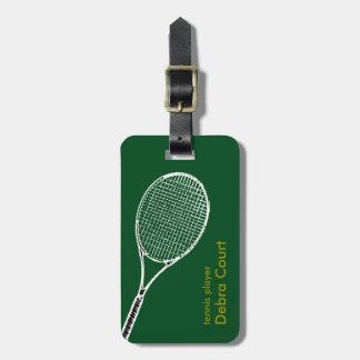 viaje personalizado del jugador de tenis etiqueta para equipaje