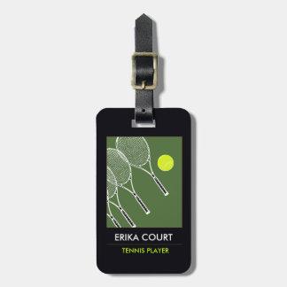 viaje personalizado del tennist etiquetas de equipaje
