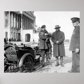 Viaje por carretera 1918 de la motocicleta póster