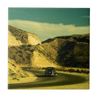 Viaje por carretera del vintage azulejo ceramica