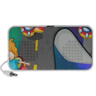 Viaje por carretera laptop altavoz