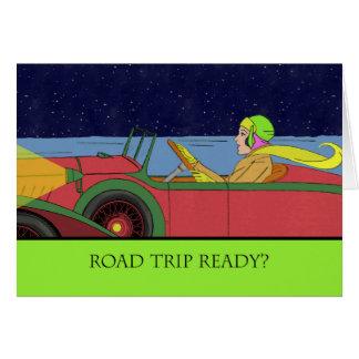 ¿Viaje por carretera listo? Señora en coche del Tarjeta De Felicitación