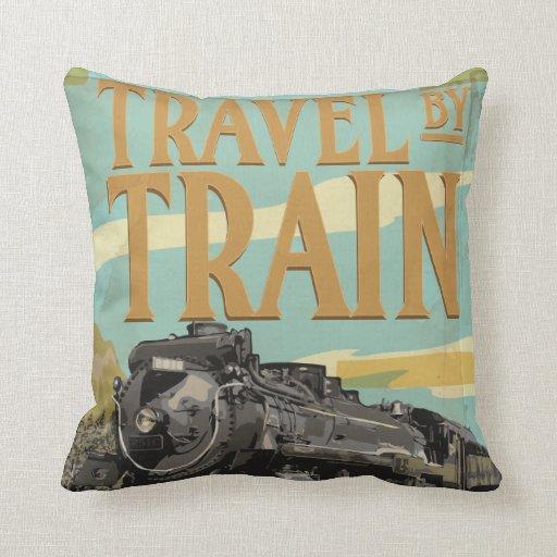 Viaje por el poster del viaje del vintage del tren almohada