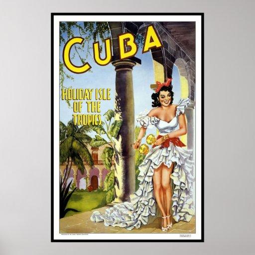 Viaje retro Cuba de la imagen del vintage de la im Póster