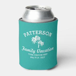 Viaje retro de la playa del verano de la palmera enfriador de latas