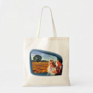 Viaje retro de los trenes del kitsch del vintage a bolsa tela barata