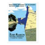 Viaje retro de Marion St Augustine del fuerte del Tarjetas Postales