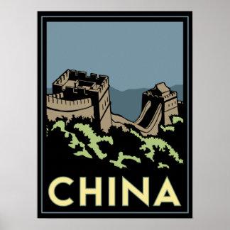 viaje retro del art déco de Asia de la Gran Murall Póster
