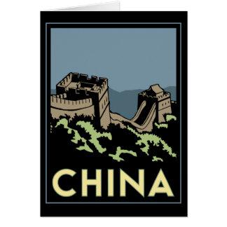viaje retro del art déco de Asia de la Gran Murall Tarjetas