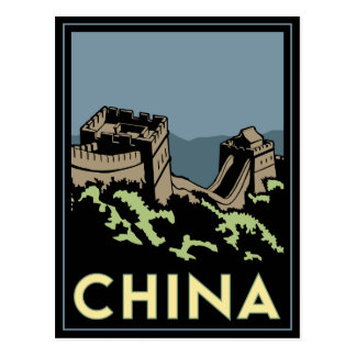 viaje retro del art déco de Asia de la Gran Murall Postales