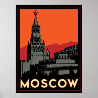 viaje retro del art déco de Moscú Rusia el Kremlin Poster