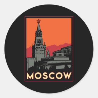 viaje retro del art déco de Moscú Rusia el Kremlin Pegatina Redonda
