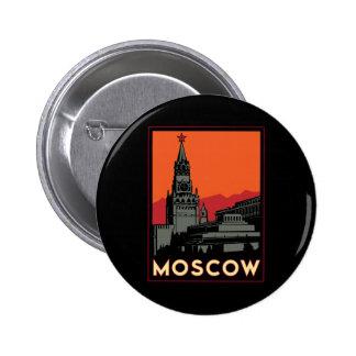 viaje retro del art déco de Moscú Rusia el Kremlin Pin Redondo De 2 Pulgadas