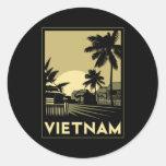 viaje retro del art déco de Vietnam Asia Pegatina Redonda