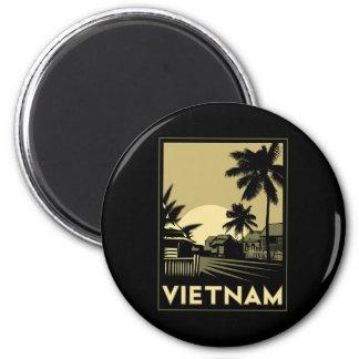 viaje retro del art déco de Vietnam Asia sudorient Imán Redondo 5 Cm