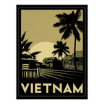 viaje retro del art déco de Vietnam Asia sudorient Poster