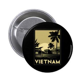 viaje retro del art déco de Vietnam Asia sudorient Pin Redondo De 2 Pulgadas