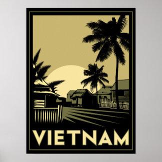 viaje retro del art déco de Vietnam Asia sudorient Póster