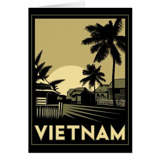 viaje retro del art déco de Vietnam Asia sudorient Tarjeta De Felicitación