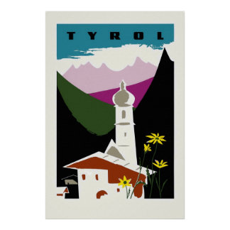 Viaje retro del Tyrol Austria del dibujo en colore Póster