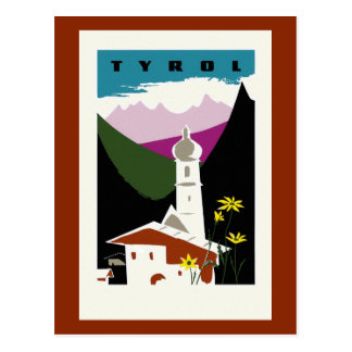 Viaje retro del Tyrol Austria del dibujo en colore Tarjetas Postales